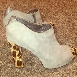 Sam Edelman Gray And Leopard Calf Hair Bootie